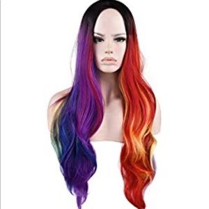 NIB Synthetic rainbow colored cosplay wig